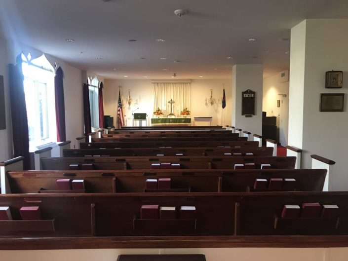 Washington DC House of Worship audio visual system with in-ceiling speakers and wireless microphones